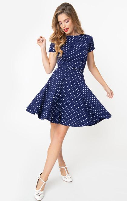 K465KD4SS UV Navy & White Stephanie Dress