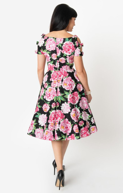 UV 1950s Black & Pink Floral Selma Dress