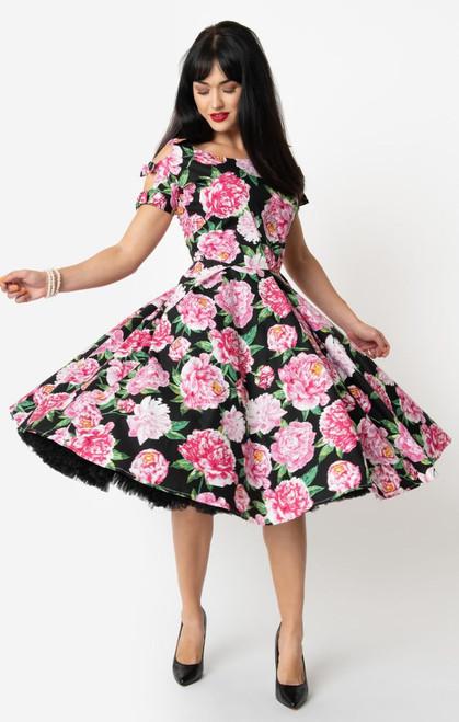 UV 1950s Black & Pink Floral Selma Dress