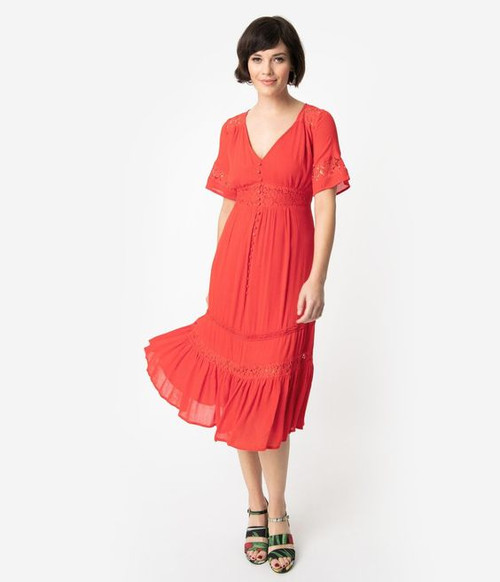 Vintage Style Red Lace Midi Dress (Small)