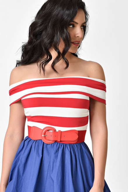 Patriotic Off the Shoulder Dress