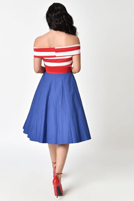 Patriotic Off the Shoulder Dress
