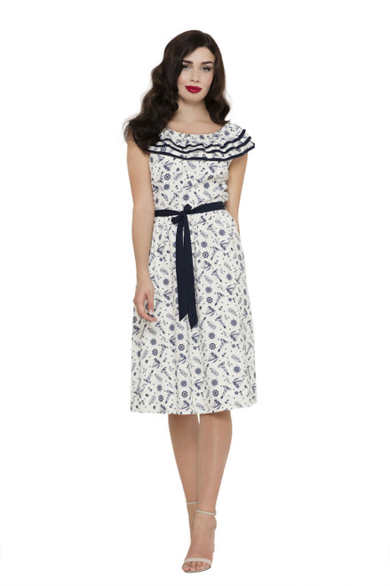 Cream & Navy Nautical Sundress