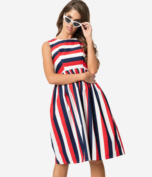 Vintage Style Red White & Navy Swing Dress