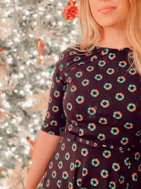 UV Navy Christmas Wreath Dress