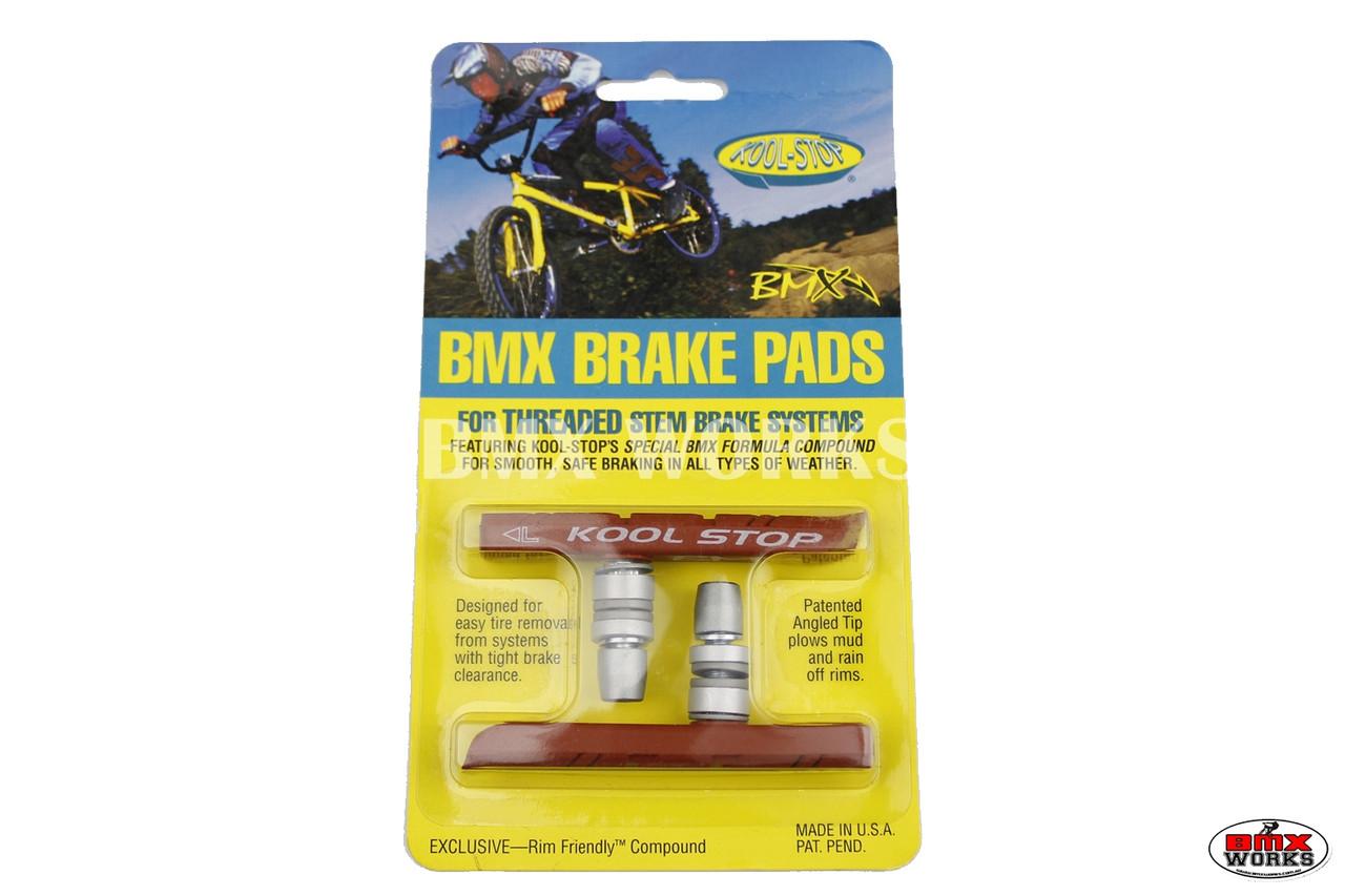 PAIR Kool Stop bicycle brake old school BMX finned pads SILVER w// SALMON