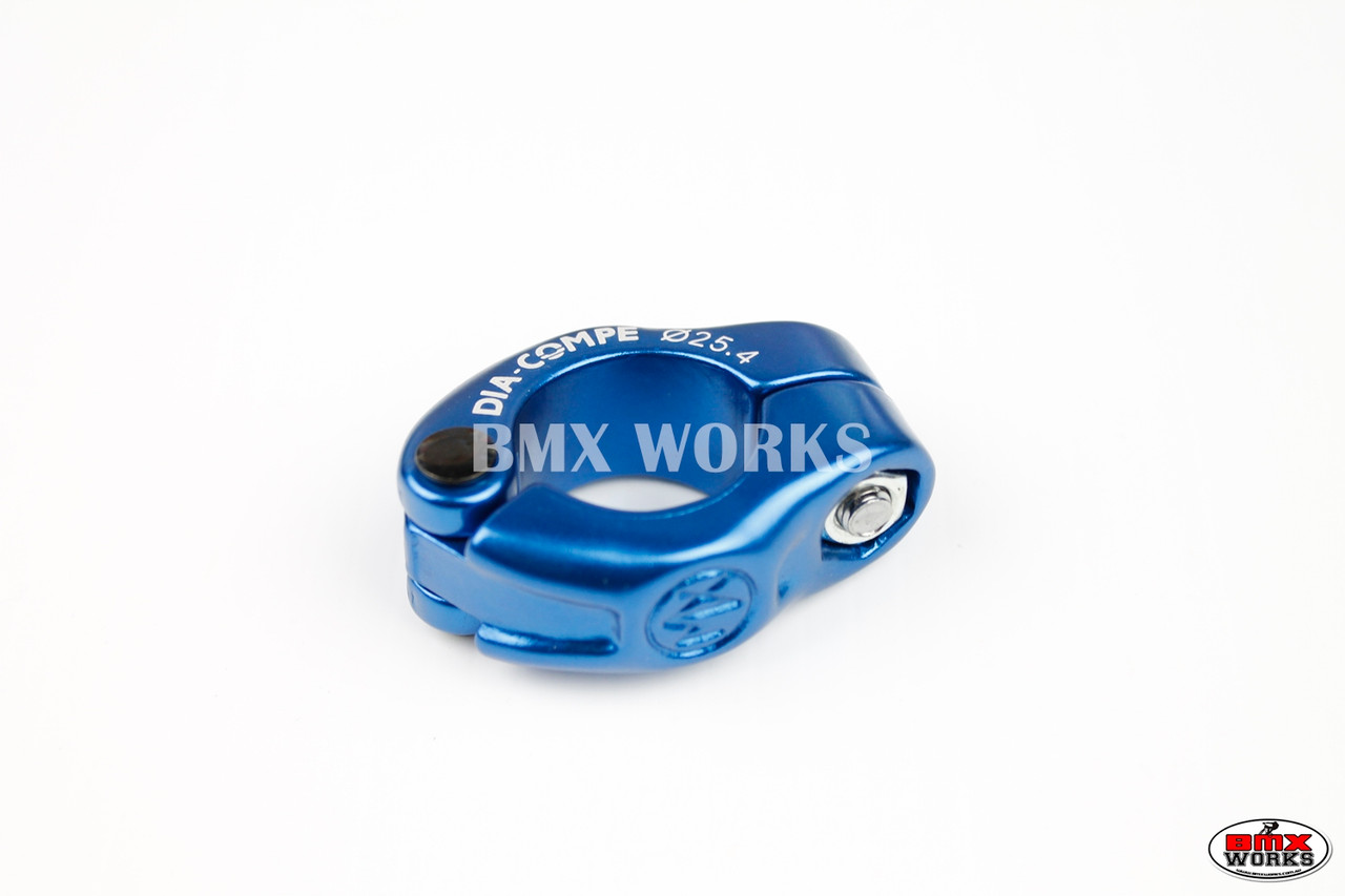 "25.4mm BLUE 1/"" Dia-Compe MX 2 PIECE old school BMX bicycle seat post clamp"