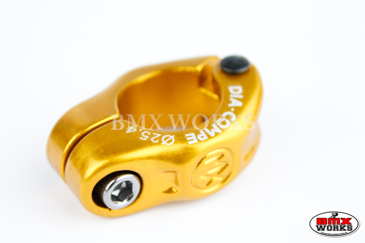 """GOLD 1/"""" 25.4mm Dia-Compe MX 2 PIECE old school BMX bicycle seat post clamp"""