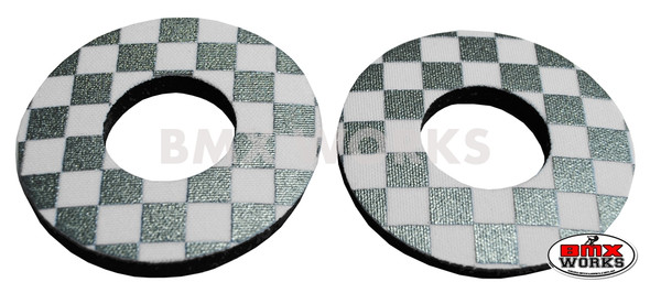 ProBMX Flite Style BMX Bicycle Foam Grip Donuts - Checker Silver & White