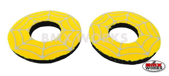 ProBMX Flite Style BMX Bicycle Foam Grip Donuts - Spider Web Yellow & White