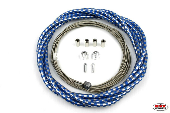 BMX Brake Cable Front & Rear Kit Checker Blue & Chrome