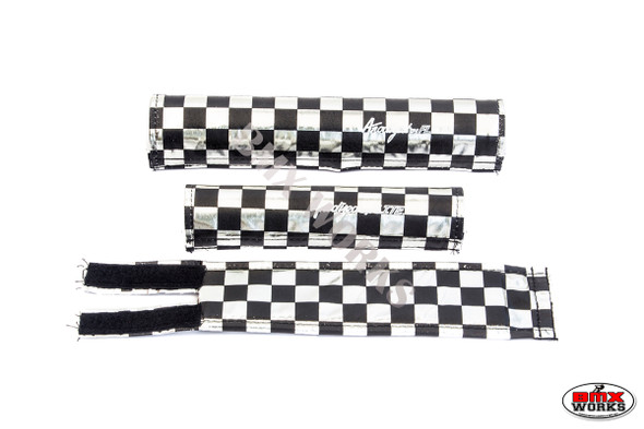 FLITE 3 Piece Nylon BMX Padset - Checker Black & Chrome
