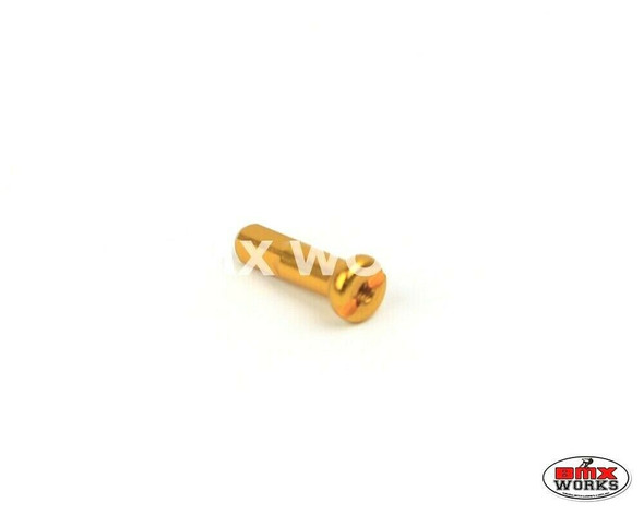 14G x 16mm Aluminium Spoke Nipples Gold - Each