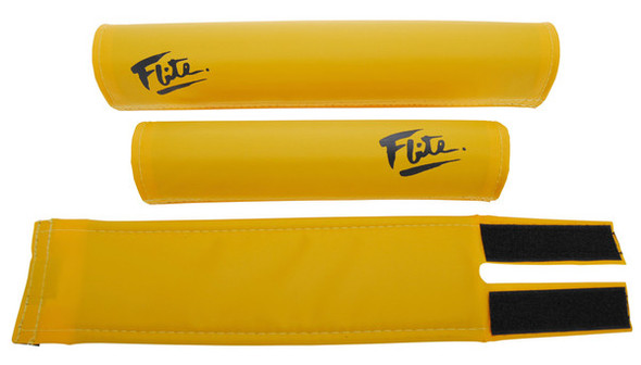 FLITE 3 Piece Nylon BMX Padset - 80's Logo Bus Yellow & Black