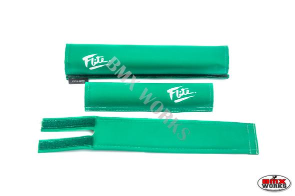 FLITE 3 Piece Nylon BMX Padset - 80's Logo Green & White