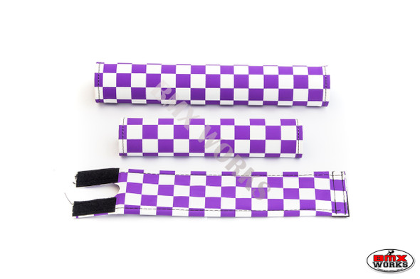 FLITE 3 Piece Nylon BMX Padset - Checker Purple & White