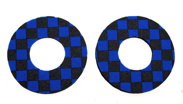 ProBMX Flite Style BMX Bicycle Foam Grip Donuts - Checker Black & Blue