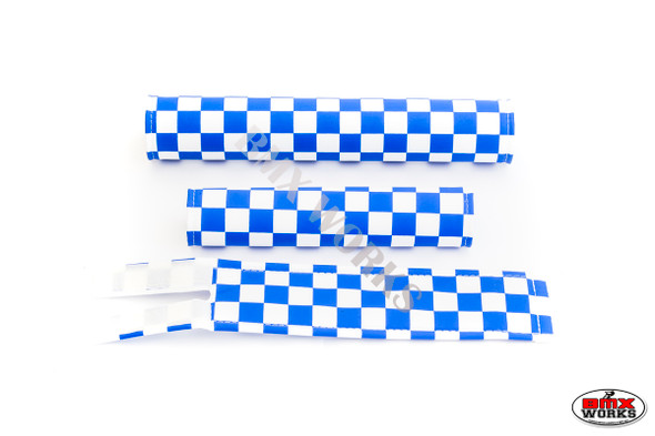 FLITE 3 Piece Nylon BMX Padset - Checker Blue & White