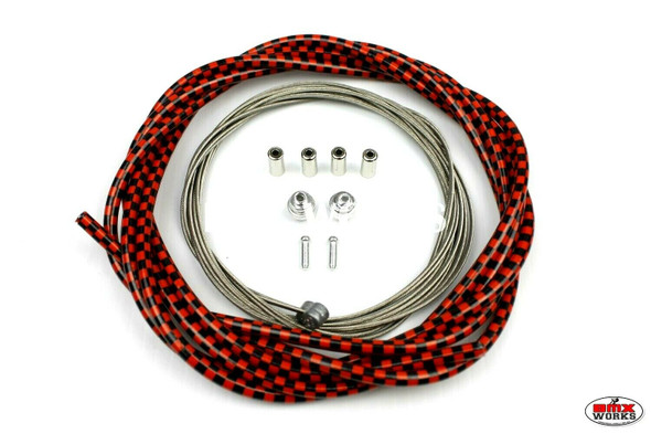 BMX Brake Cable Front & Rear Kit Checker Black & Red