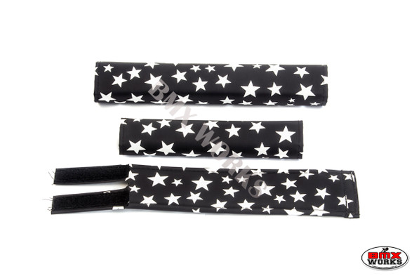 FLITE 3 Piece Nylon BMX Padset - Black with White Stars
