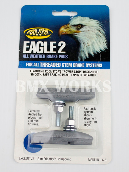 Kool Stop Eagle 2 Threaded Brake Pads Silver - Sold In Pairs