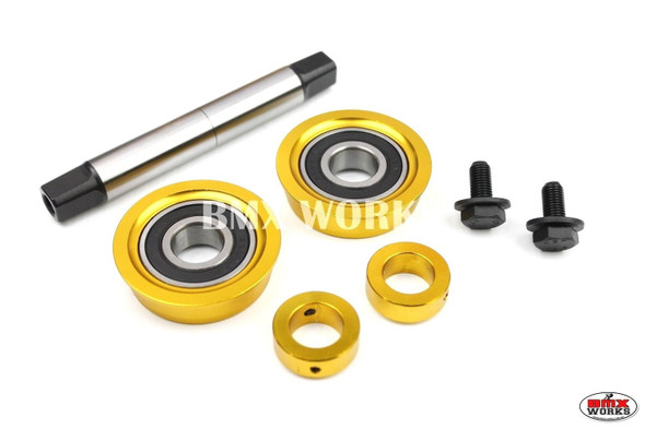 YST 3 Piece Crank Bottom Bracket Conv Kit Sealed Bearings Gold