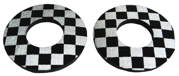 ProBMX Flite Style BMX Bicycle Foam Grip Donuts - Checker Silver & Black