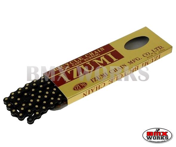 """Izumi 1/2"""" x 1/8"""" x 96 Link Chain Jet Black & Gold"""