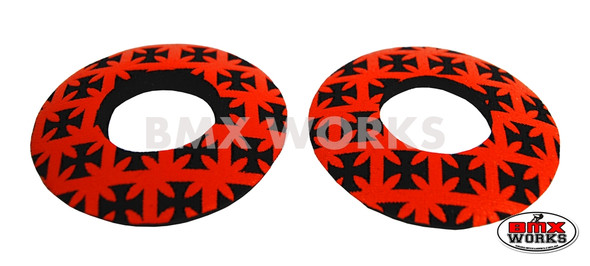 ProBMX Flite Style BMX Bicycle Foam Grip Donuts - Iron Cross Red & Black