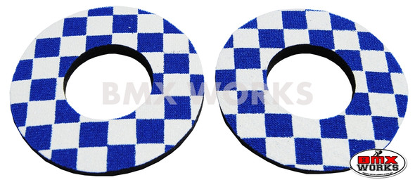 ProBMX Flite Style BMX Bicycle Foam Grip Donuts - Checker Blue & White