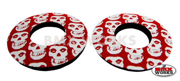 ProBMX Flite Style BMX Bicycle Foam Grip Donuts - Skulls Red & White