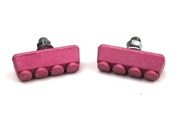 BMX Freestyle or Race Bicycle Brake Pads - Pink Pairs