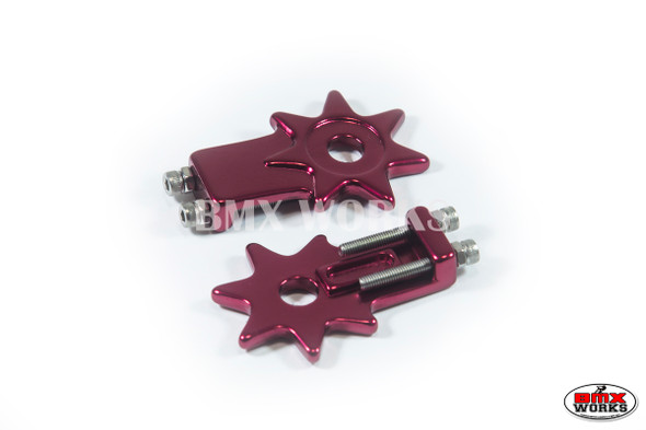 "Star Chain Tensioners Red Suit 3/8"" Axles (Pair)"