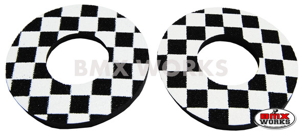 ProBMX Flite Style BMX Bicycle Foam Grip Donuts - Checker Black & White