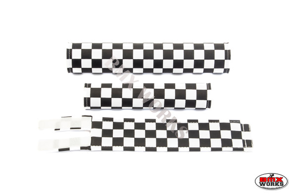 FLITE 3 Piece Nylon BMX Padset - Checker Black & White