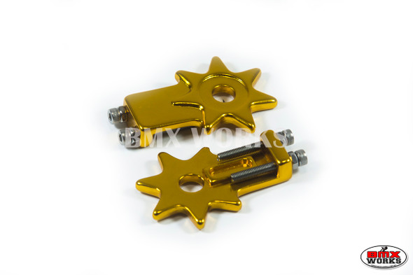 "Star Chain Tensioners Gold Suit 3/8"" Axles (Pair)"