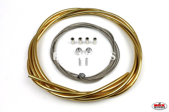 BMX Brake Cable Front & Rear Kit Ano Gold