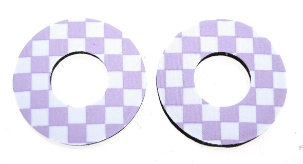 ProBMX Flite Style BMX Bicycle Foam Grip Donuts - Checker Lavender & White