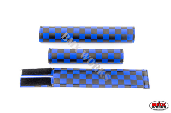 FLITE 3 Piece Nylon BMX Padset - Checker Blue & Black