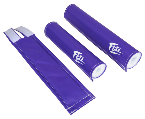 FLITE 3 Piece Nylon BMX Padset - 80's Logo Purple & White
