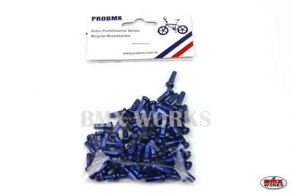 14G x 12mm Aluminium Spoke Nipples Dark Blue - Pack of 75
