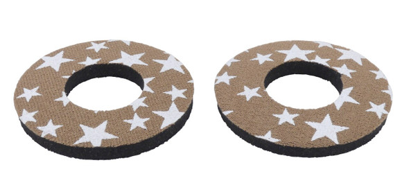 ProBMX Flite Style BMX Bicycle Foam Grip Donuts - Stars Brown & White
