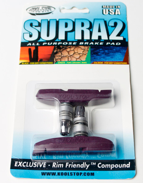 Kool Stop Supra 2 Threaded Brake Pads Purple - Sold In Pairs