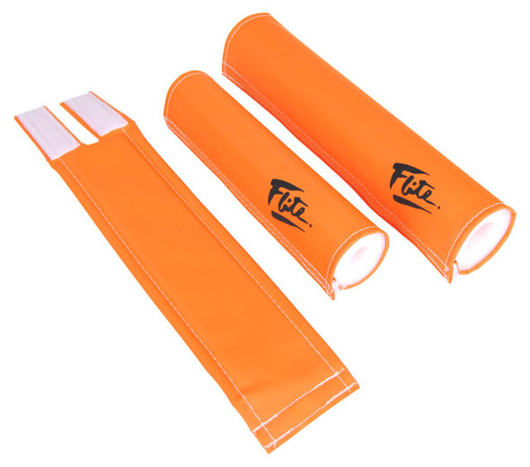 FLITE 3 Piece Nylon BMX Padset - 80's Logo Orange & Black