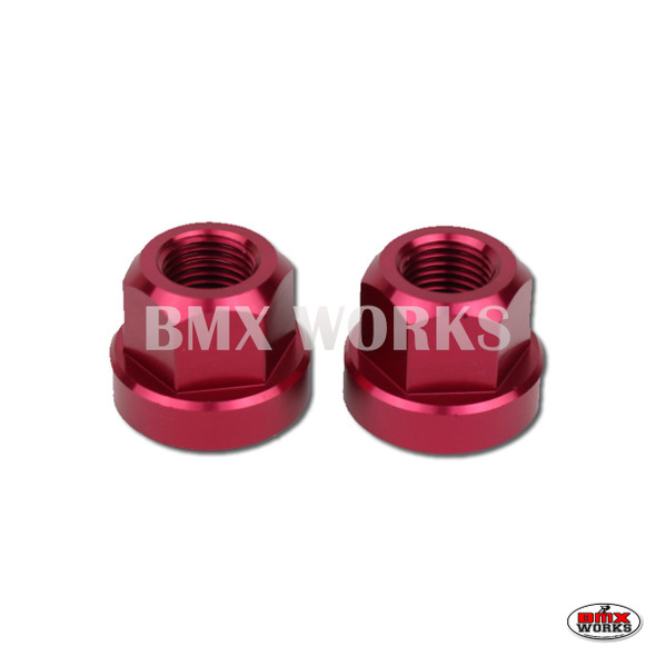 "Axle Nuts Hex 3/8"" x 26tpi  Pairs Red"