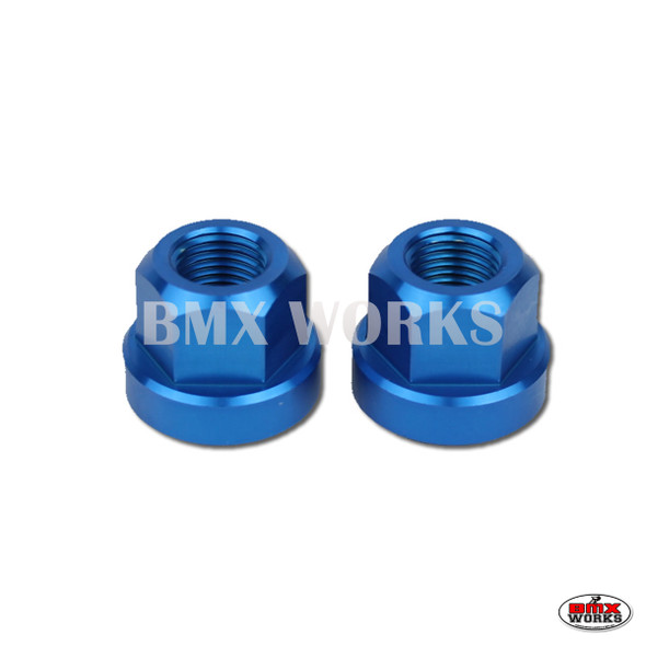 "Axle Nuts Hex 3/8"" x 26tpi  Pairs Blue"