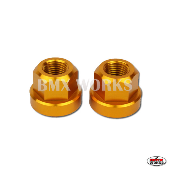 "Axle Nuts Hex 3/8"" x 26tpi  Pairs Gold"