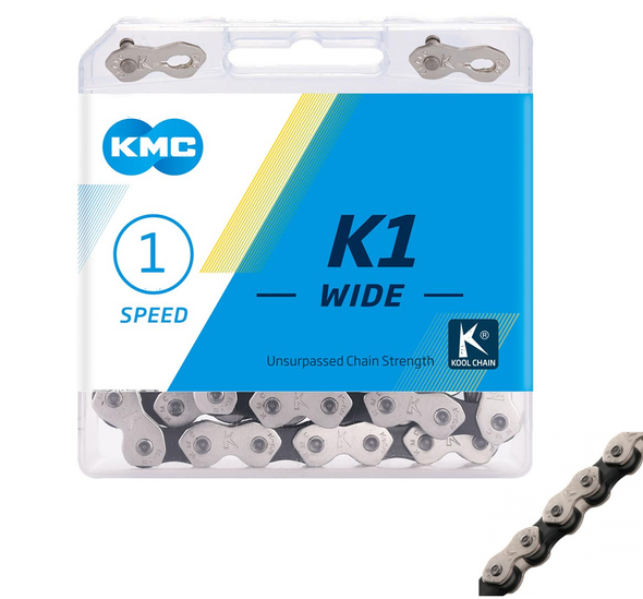 "KMC K1 Wide 1/2"" x 1/8"" x 112 Link Chain  Silver & Black"