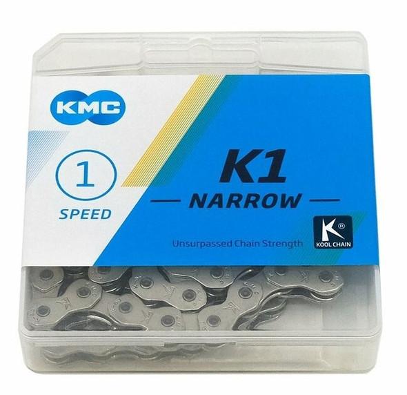 """KMC K1 Narrow 1/2"""" x 3/32"""" x 112 Link Chain  Silver"""