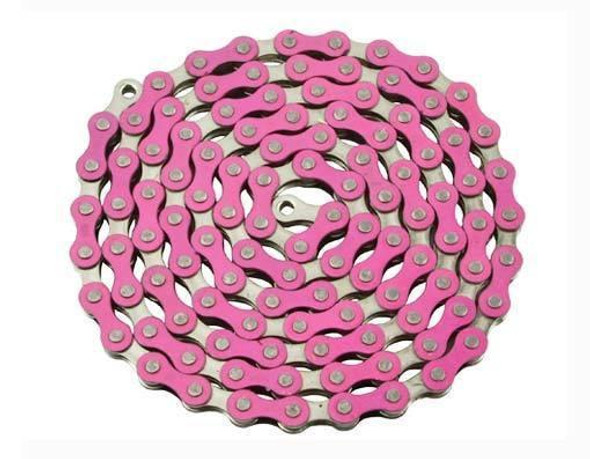 "Yaban 1/2"" x 1/8"" x 112 Link Pink & Nickel Chain"